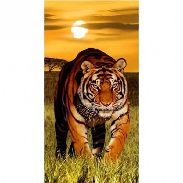 Strandtuch Raubkatze-Tiger mit Sonne