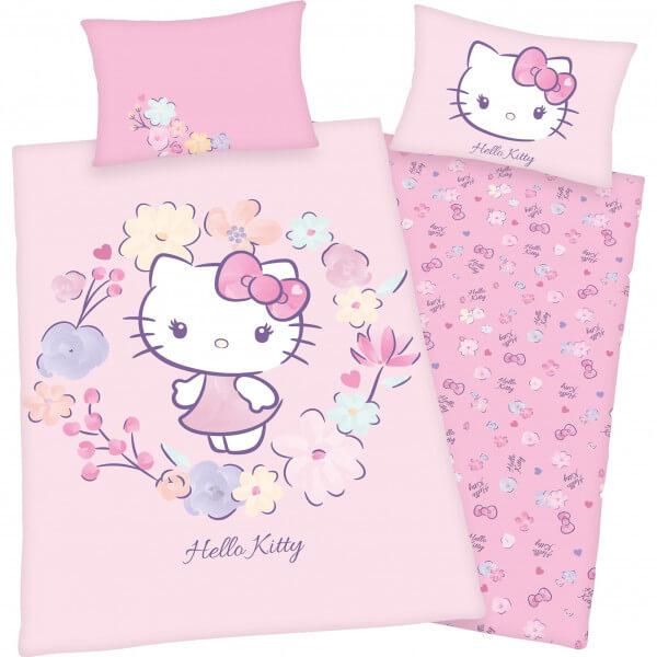 Bettwäsche Hello Kitty mit Blumen