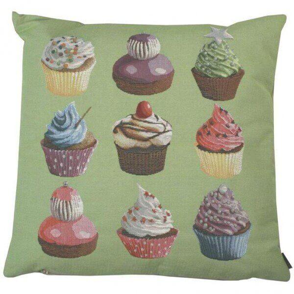 Gobelin Sofa Kissen Cupcakes grün