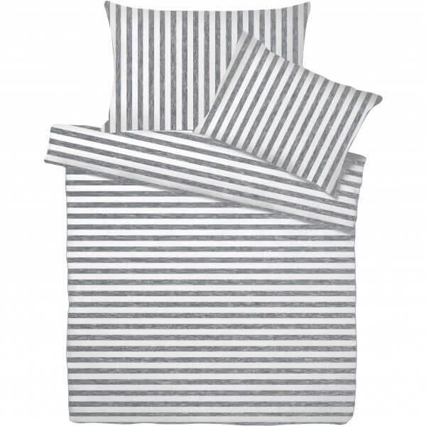 Bettwäsche Jersey Melange Streifen Grau/Weiss