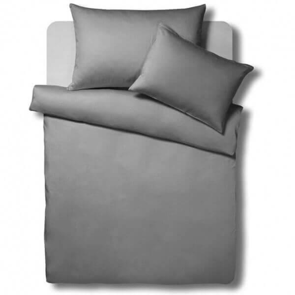 Bettwäsche Satin Uni Anthrazit Erwachsene Bettwäsche Schlafshopch