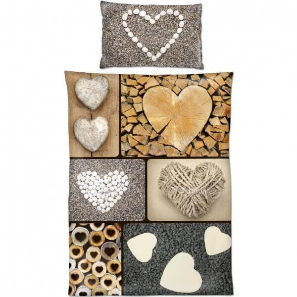 Bettwäsche Holz Herzen