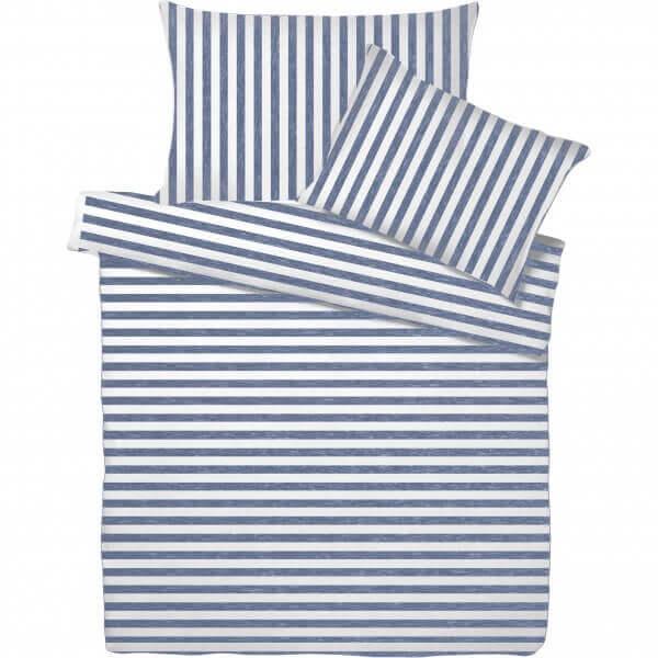 Bettwäsche Jersey Melange Streifen Jeans/Weiss