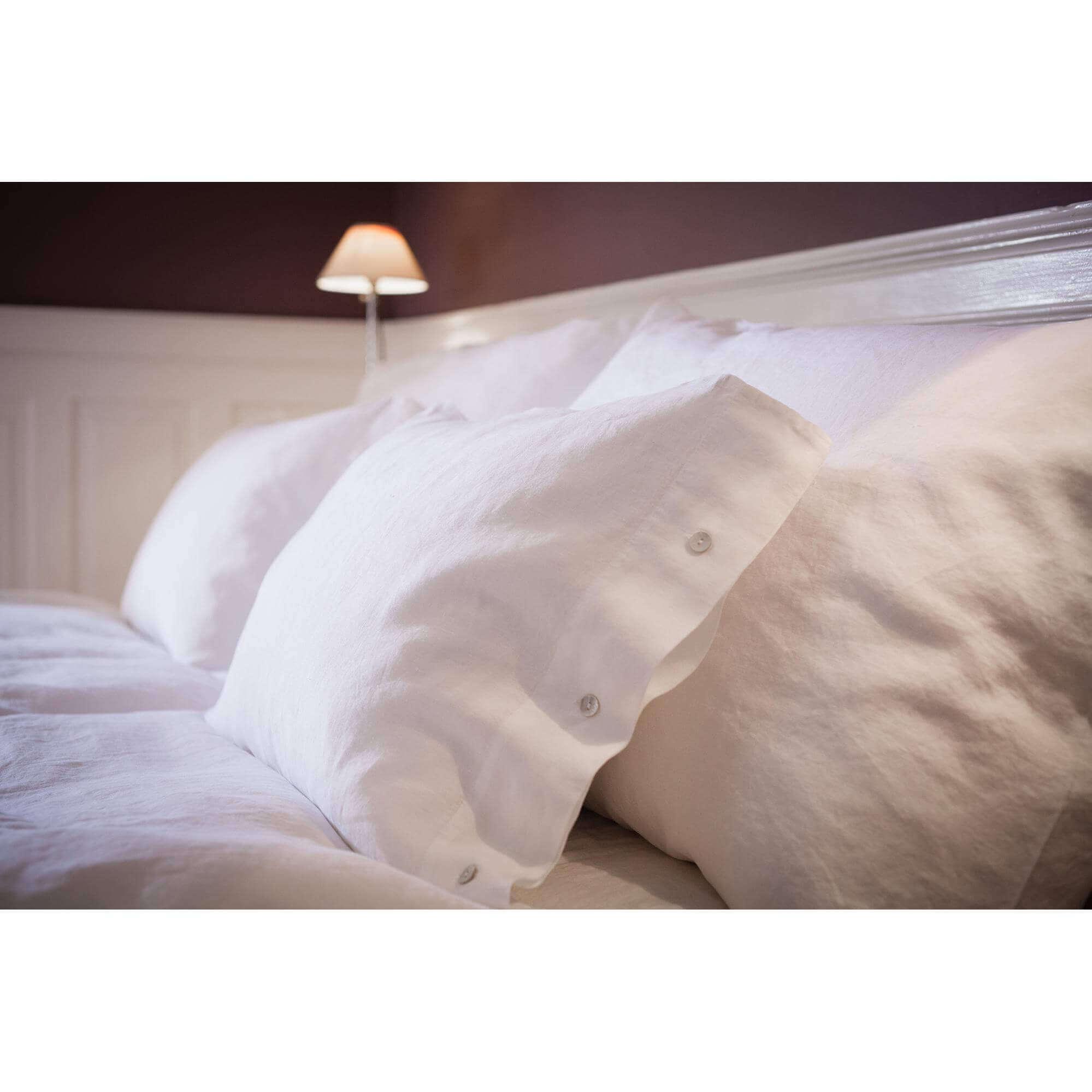 Bettwäsche Leinen Stone Washed Weiss Erwachsene Bettwäsche