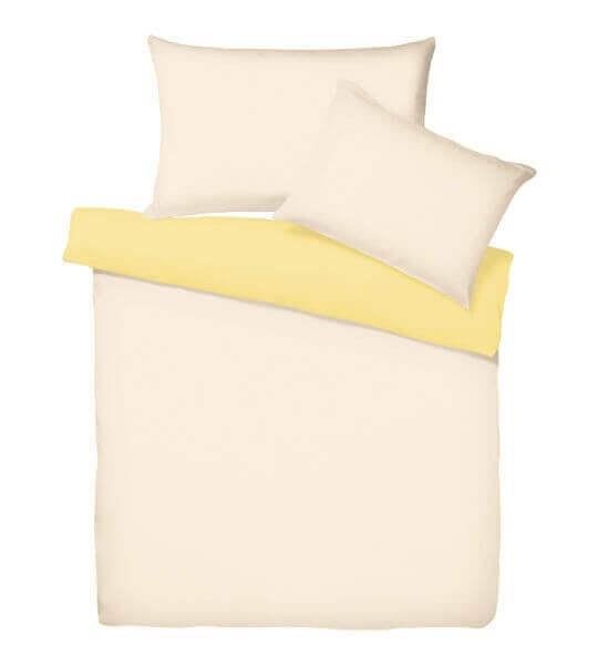 Bettwäsche Satin Uni Doubleface Beige/Mellow yellow
