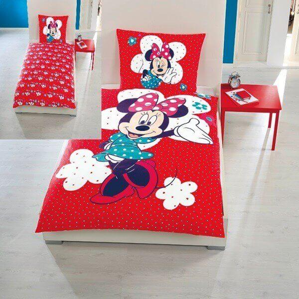Bettwäsche Minnie Mouse Rot Disney Kinder Jugend Bettwäsche
