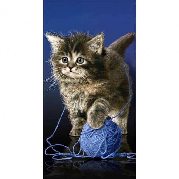 Strandtuch Katze mit Wolle