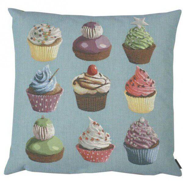 Gobelin Sofa Kissen Cupcakes blau