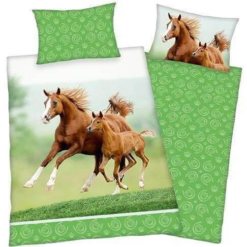 Bettwäsche Pferd mit Fohlen, grün