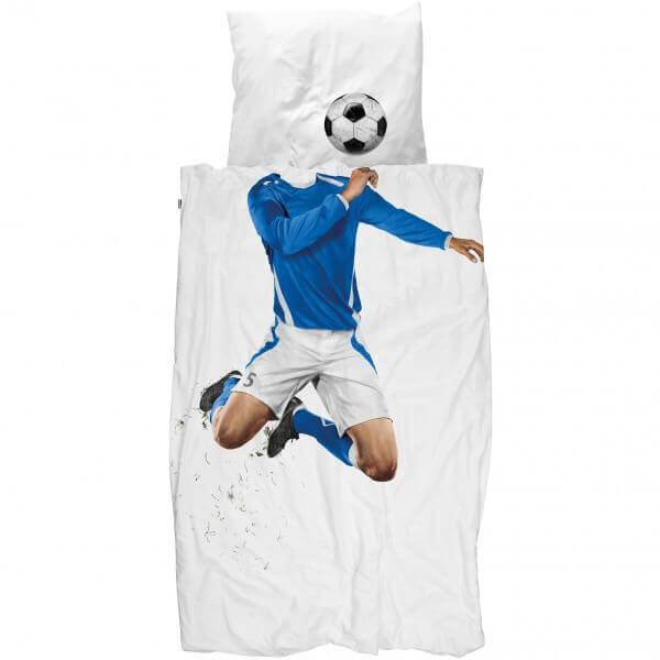 SNURK Bettwäsche Fussball blau