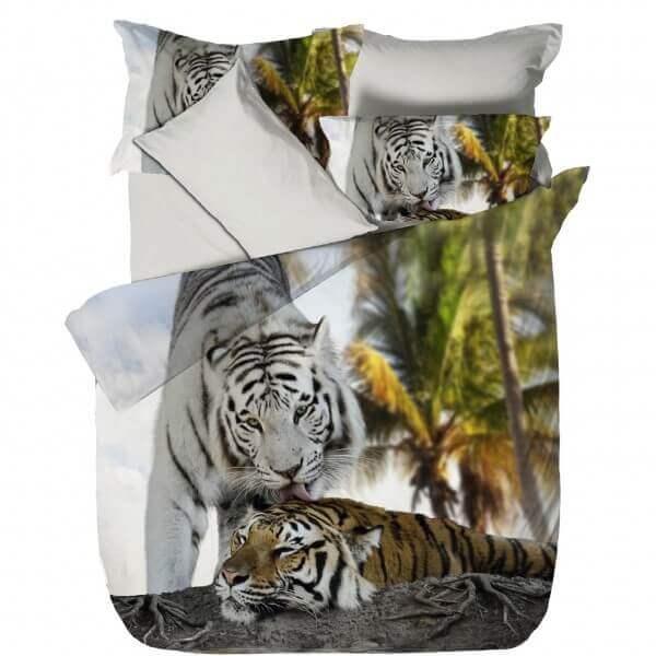 Bettwäsche Kaplan - weisser und brauner Tiger