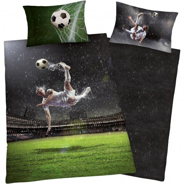 Bettwäsche Young Collection Soccer-Fussballer Grün