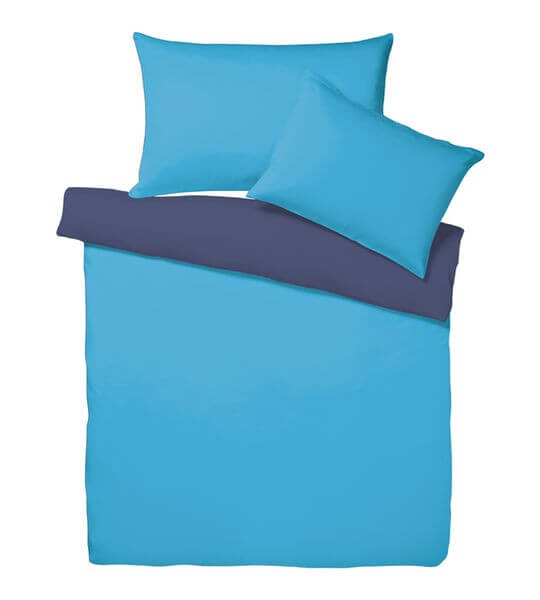bettw sche satin uni doubleface azur blau erwachsene bettw sche. Black Bedroom Furniture Sets. Home Design Ideas