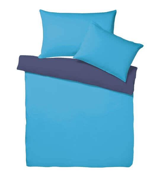 Bettwäsche Satin Uni Doubleface Azur/Blau