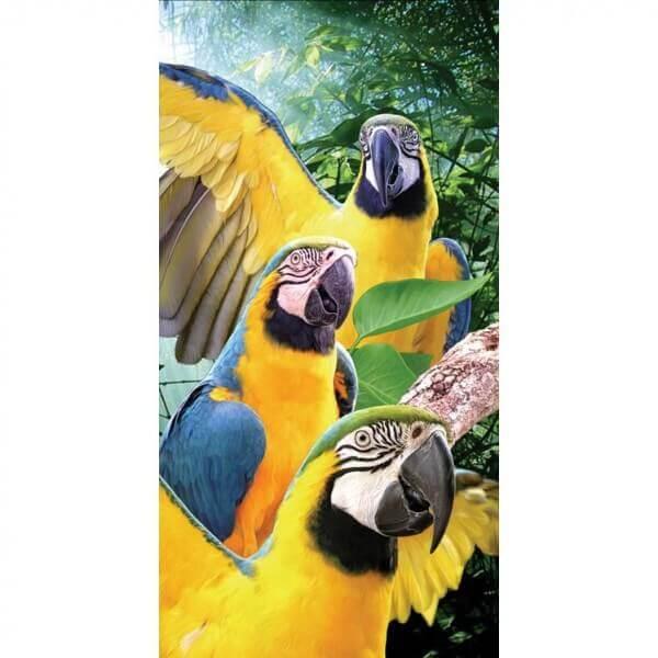 Strandtuch Papageien gelb